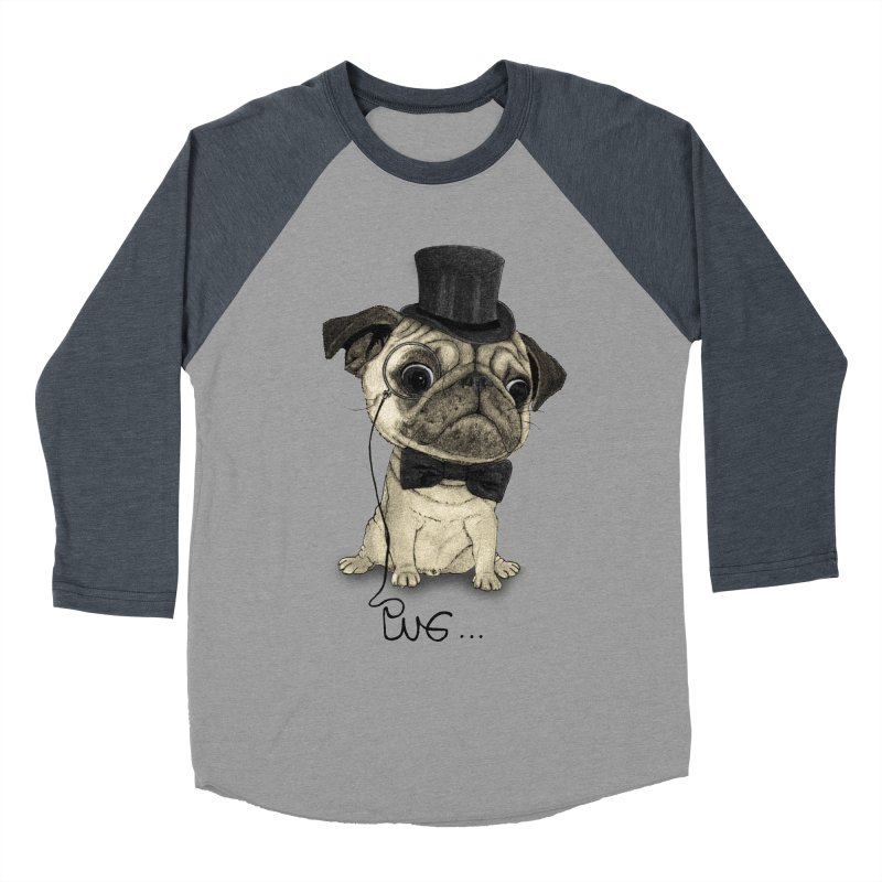 Pug; Gentle Pug Men's Baseball Triblend T-Shirt by Barruf