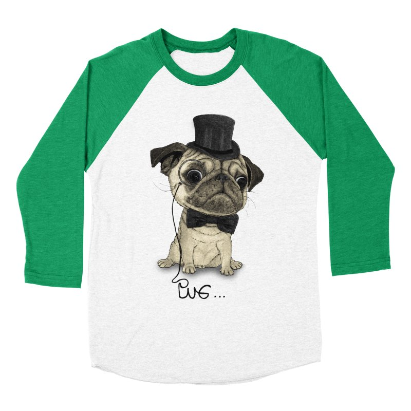 Pug; Gentle Pug Men's Baseball Triblend Longsleeve T-Shirt by Barruf