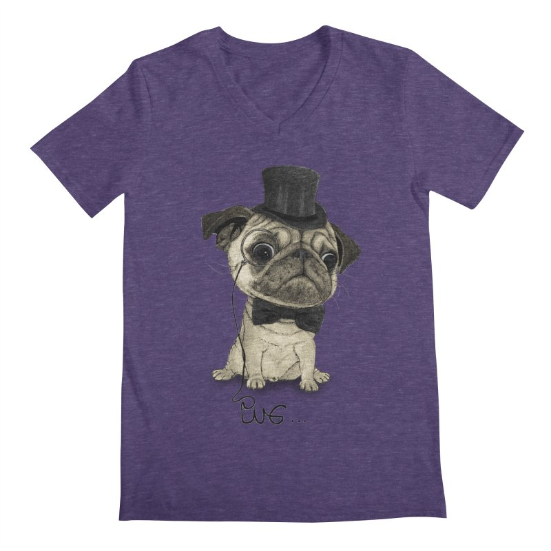 Pug; Gentle Pug Men's Regular V-Neck by Barruf