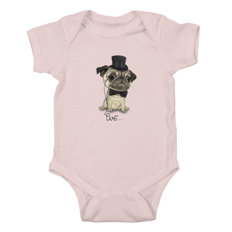 Pug; Gentle Pug Kids Baby Bodysuit by Barruf