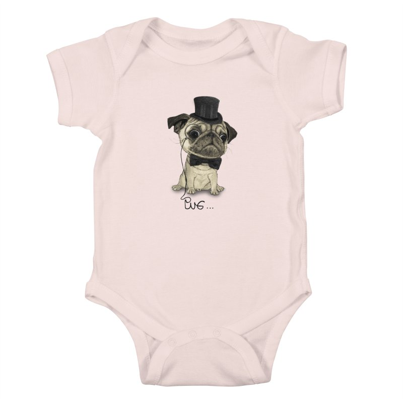 Pug; Gentle Pug Kids Baby Bodysuit by Barruf