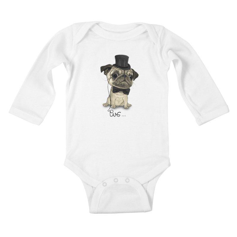 Pug; Gentle Pug Kids Baby Longsleeve Bodysuit by Barruf