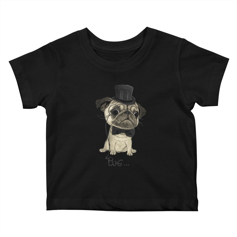 Pug; Gentle Pug Kids Baby T-Shirt by Barruf