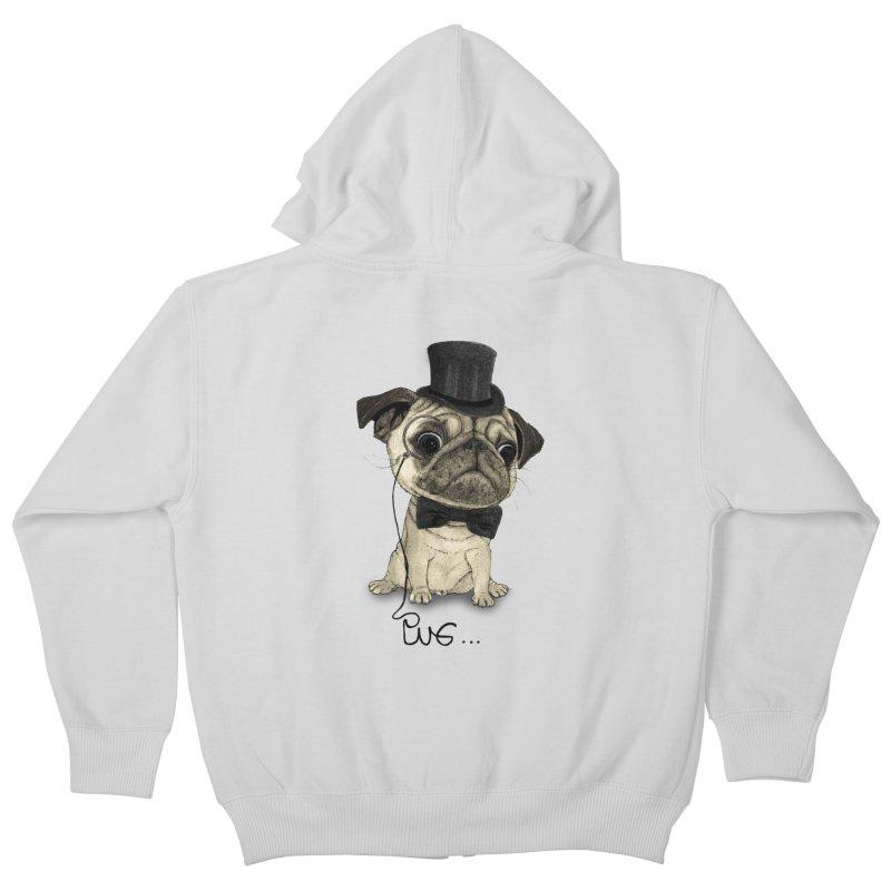Pug; Gentle Pug Kids Zip-Up Hoody by Barruf
