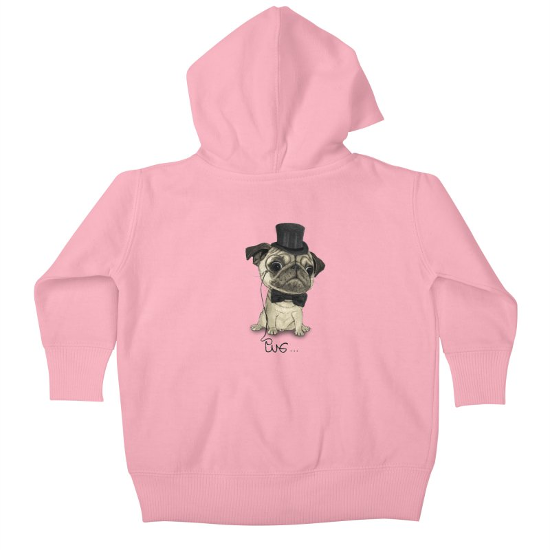 Pug; Gentle Pug Kids Baby Zip-Up Hoody by Barruf