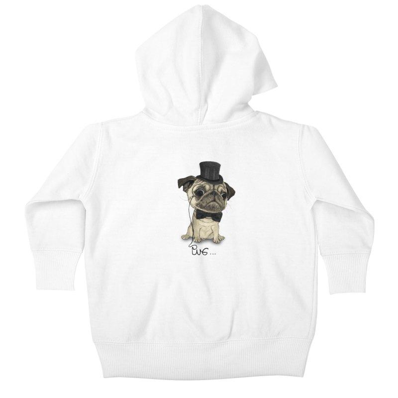 Pug; Gentle Pug Kids Baby Zip-Up Hoody by Barruf