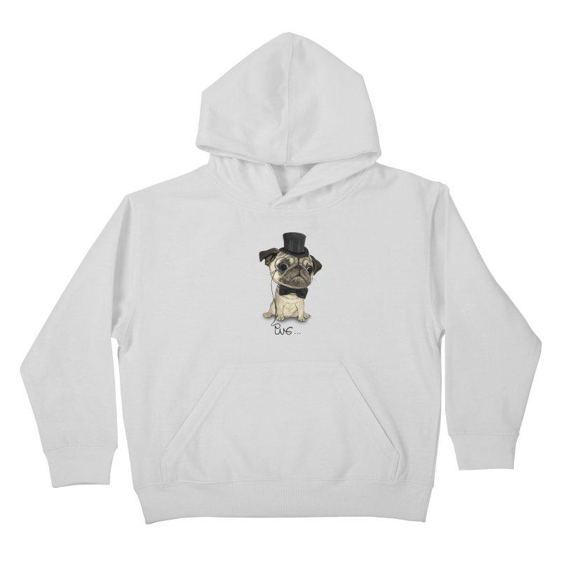 Pug; Gentle Pug Kids Pullover Hoody by Barruf