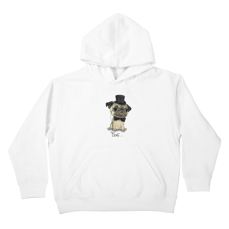 Pug; Gentle Pug Kids Pullover Hoody by Barruf