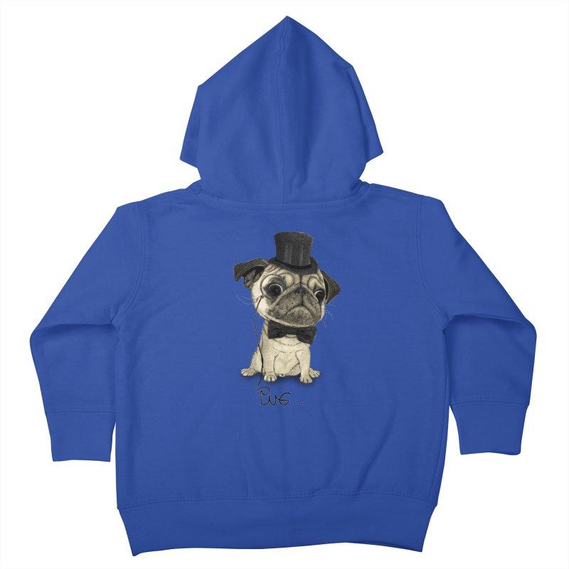 Pug; Gentle Pug Kids Toddler Zip-Up Hoody by Barruf