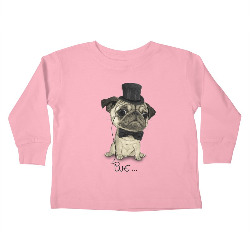 Pug; Gentle Pug Kids Toddler Longsleeve T-Shirt by Barruf