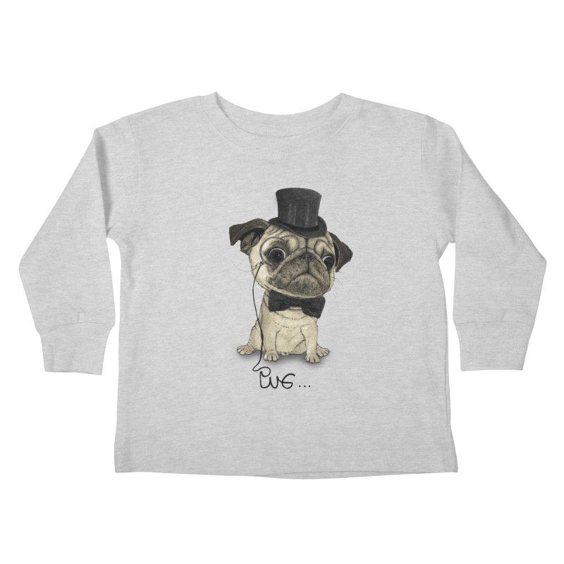 Pug; Gentle Pug Kids Toddler Longsleeve T-Shirt by Barruf