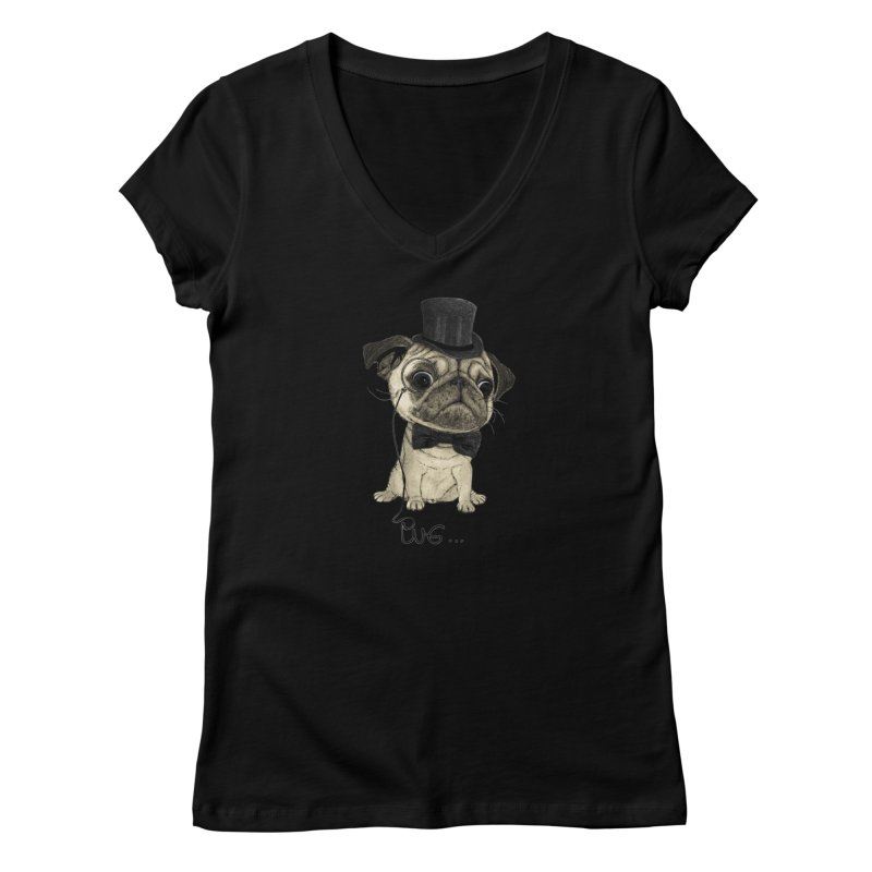 Pug; Gentle Pug Women's V-Neck by Barruf