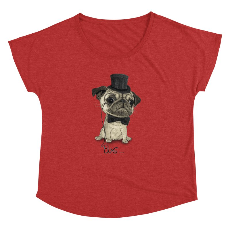 Pug; Gentle Pug Women's Dolman Scoop Neck by Barruf