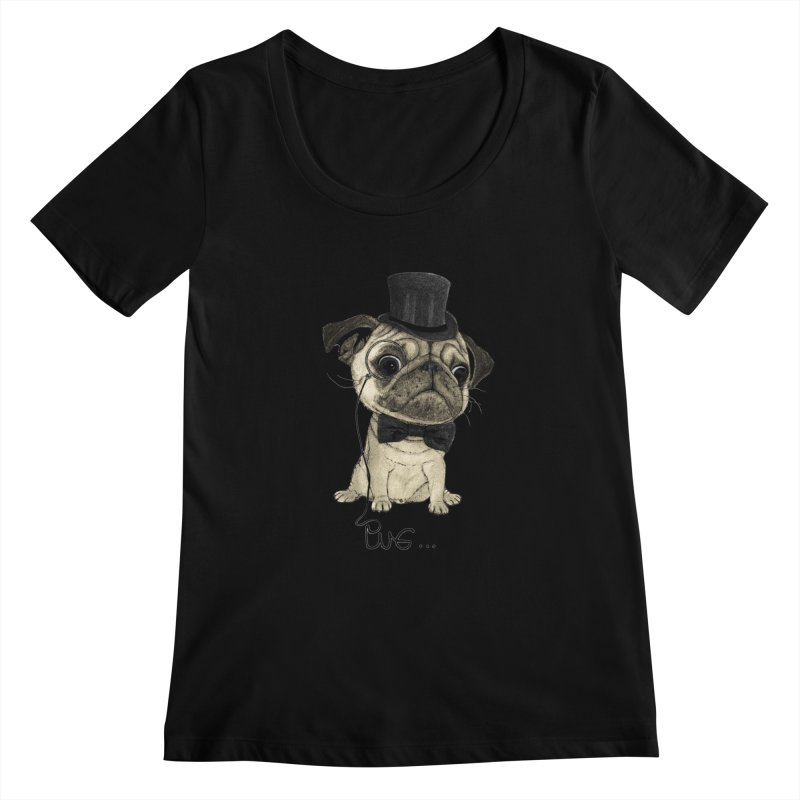 Pug; Gentle Pug Women's Scoopneck by Barruf