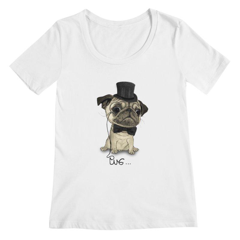 Pug; Gentle Pug Women's Scoopneck by Barruf