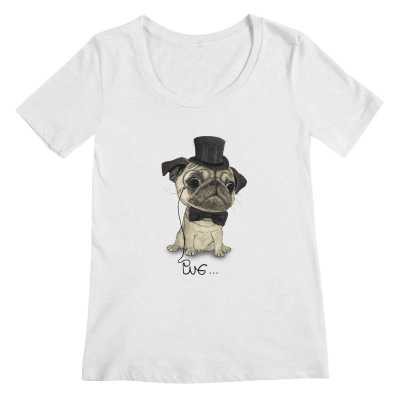 Pug; Gentle Pug Women's Scoop Neck by Barruf