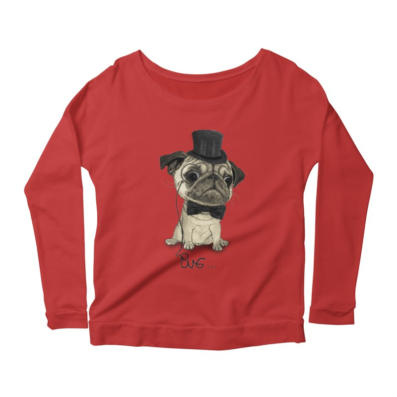Pug; Gentle Pug Women's Scoop Neck Longsleeve T-Shirt by Barruf
