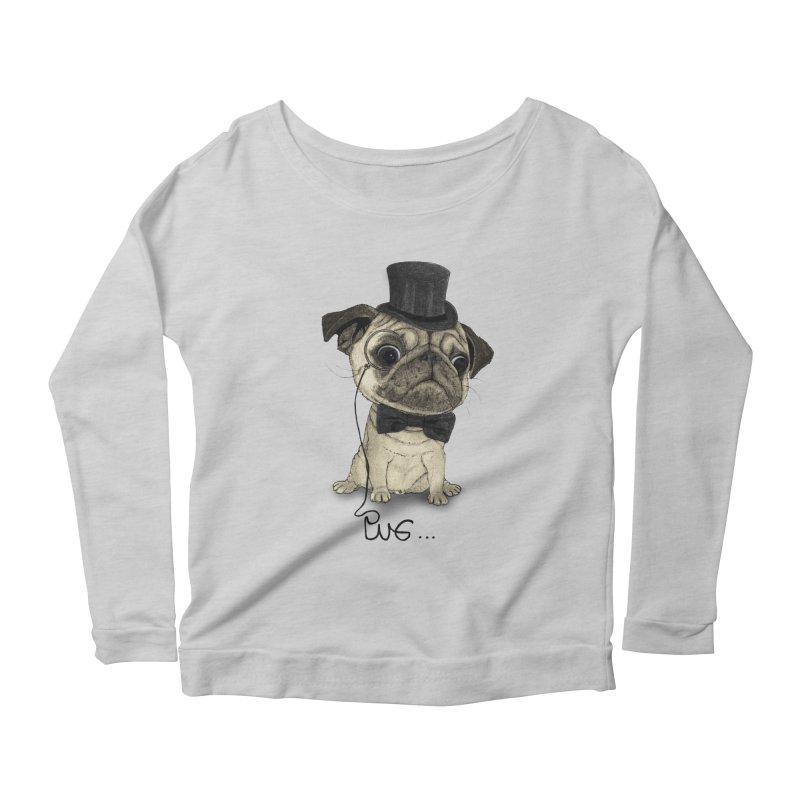 Pug; Gentle Pug Women's Longsleeve Scoopneck  by Barruf