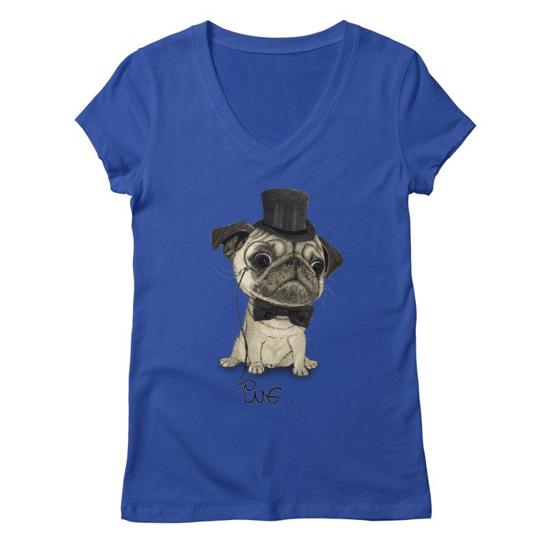 Pug; Gentle Pug Women's Regular V-Neck by Barruf