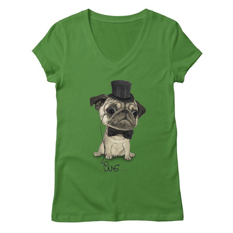 Pug; Gentle Pug Women's V-Neck by Barruf