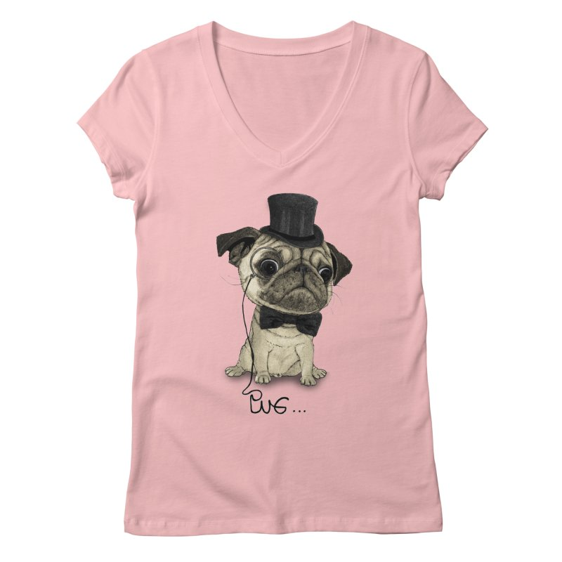 Pug; Gentle Pug Women's Regular V-Neck by Barruf