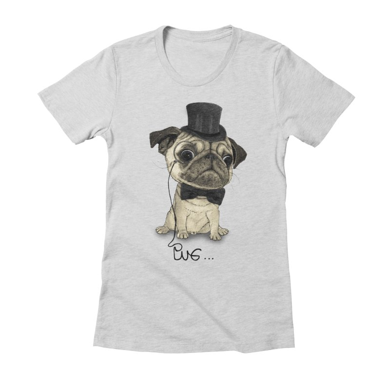 Pug; Gentle Pug Women's Fitted T-Shirt by Barruf