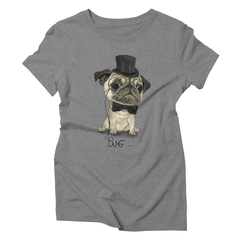 Pug; Gentle Pug Women's Triblend T-Shirt by Barruf
