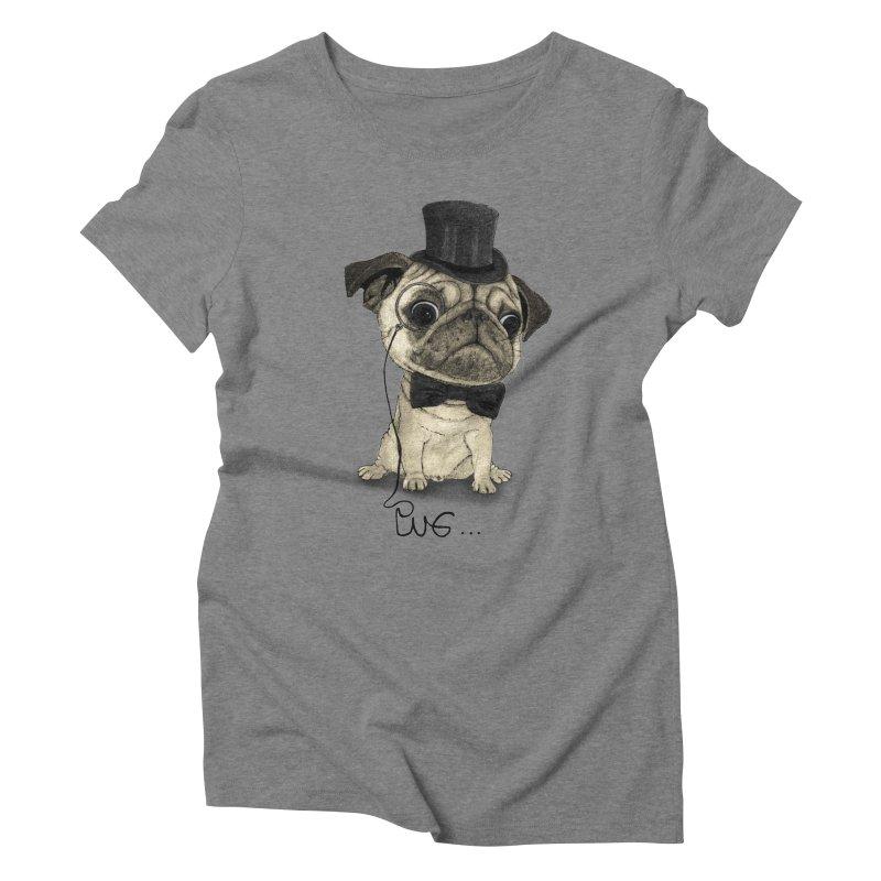Pug; Gentle Pug Women's Triblend T-shirt by Barruf