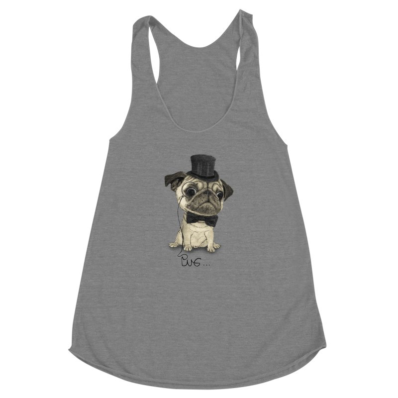 Pug; Gentle Pug Women's Racerback Triblend Tank by Barruf