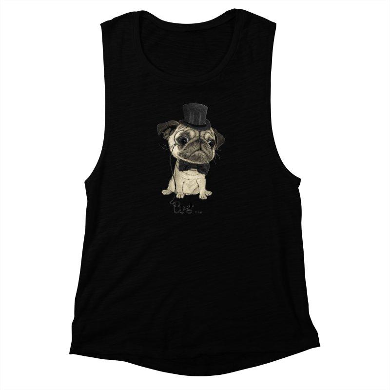 Pug; Gentle Pug Women's Muscle Tank by Barruf