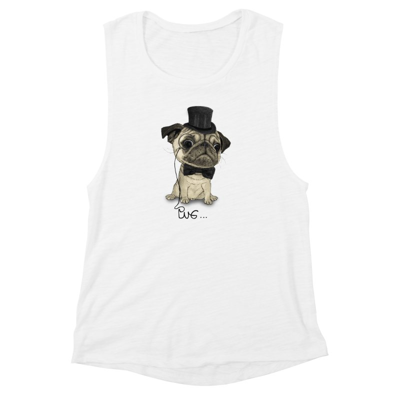 Pug; Gentle Pug Women's Muscle Tank by Barruf