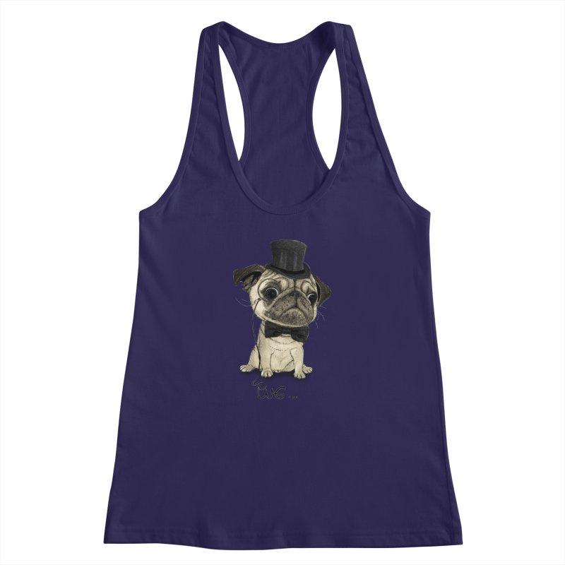 Pug; Gentle Pug Women's Racerback Tank by Barruf