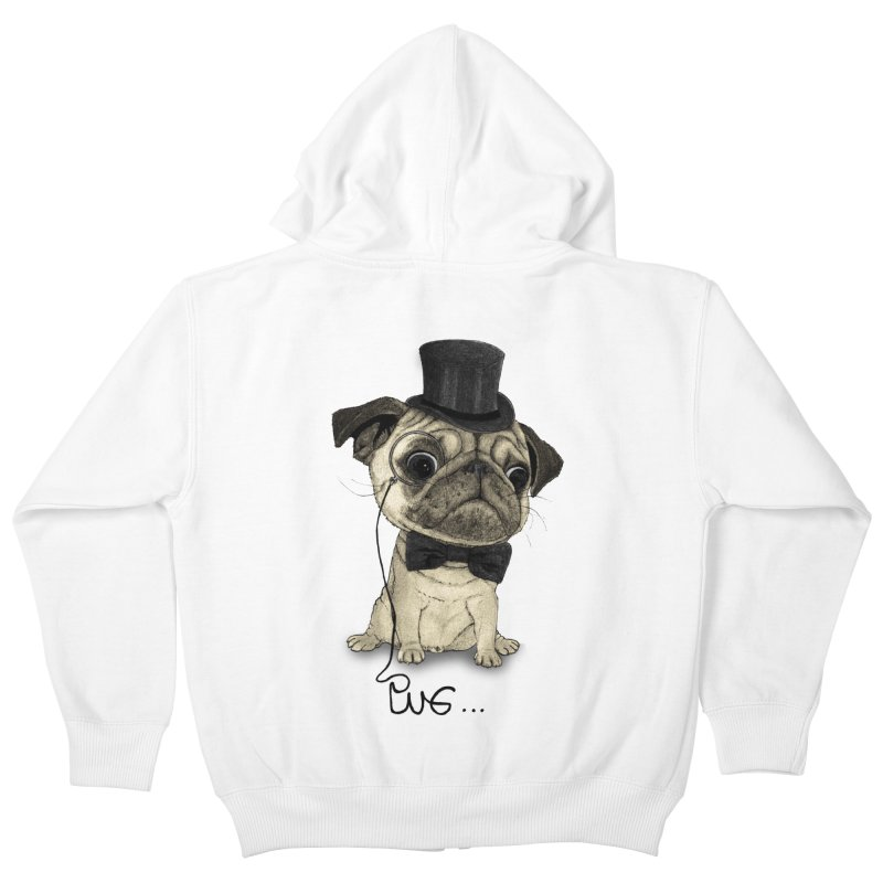 Pug; Gentle Pug Kids Zip-Up Hoody by Barruf