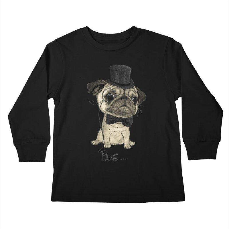 Pug; Gentle Pug Kids Longsleeve T-Shirt by Barruf