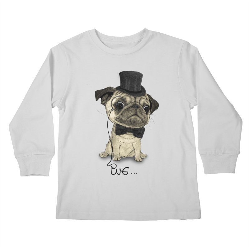 Pug; Gentle Pug Kids Longsleeve T-Shirt by Barruf