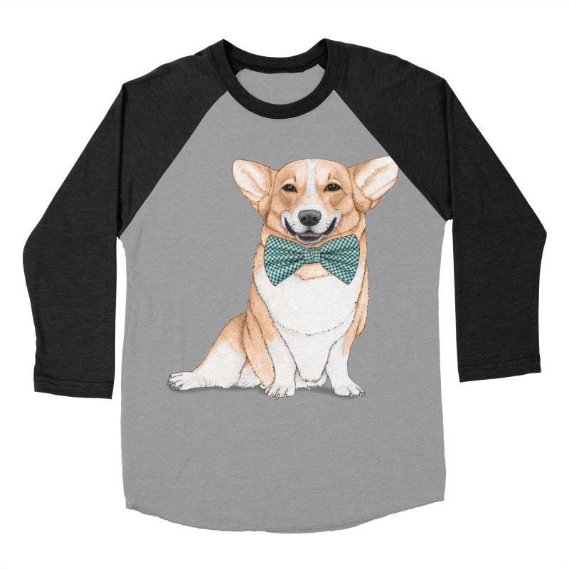 Corgi Dog Men's Baseball Triblend Longsleeve T-Shirt by Barruf