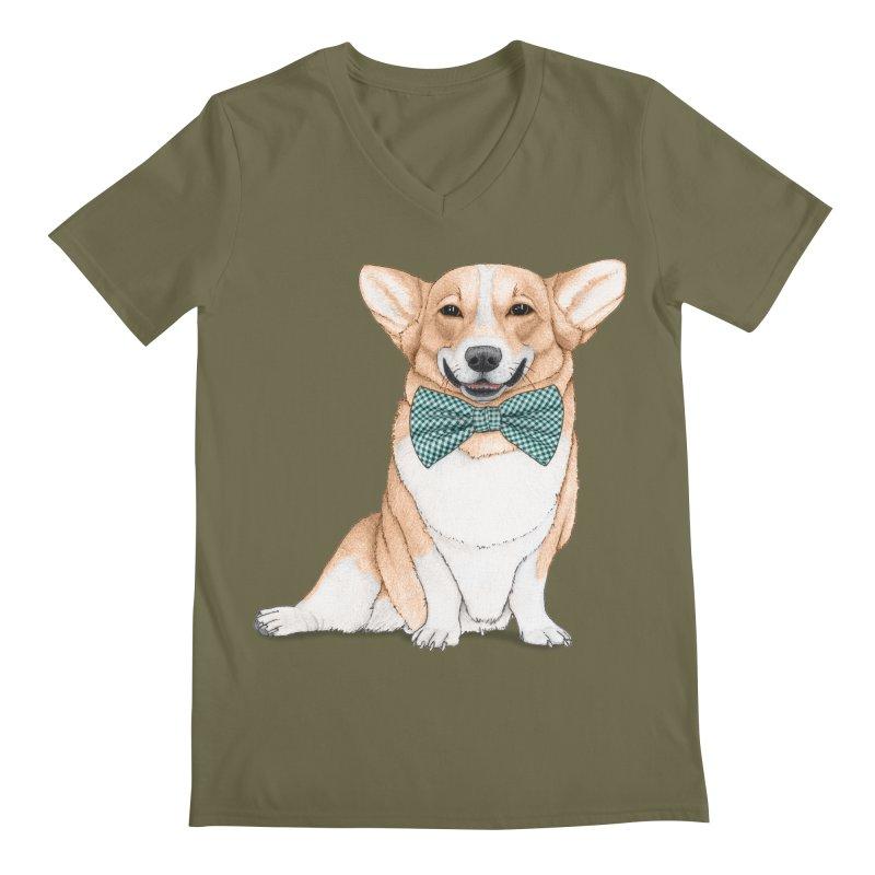 Corgi Dog Men's Regular V-Neck by Barruf