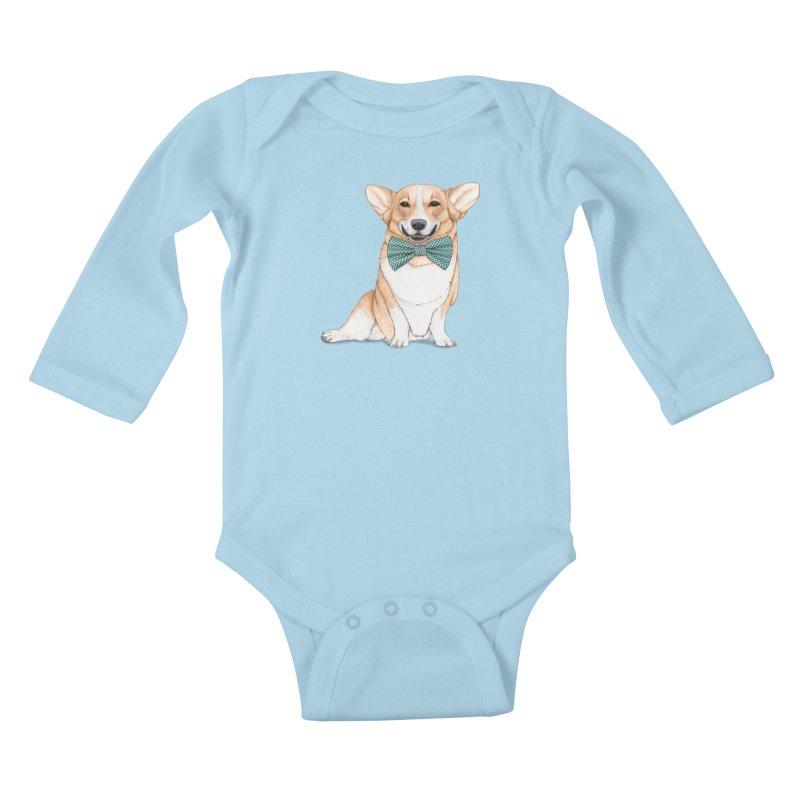 Corgi Dog Kids Baby Longsleeve Bodysuit by Barruf