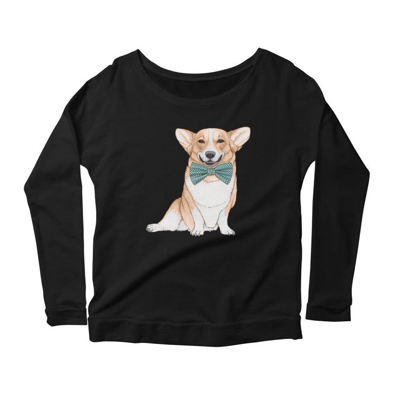 Corgi Dog Women's Scoop Neck Longsleeve T-Shirt by Barruf