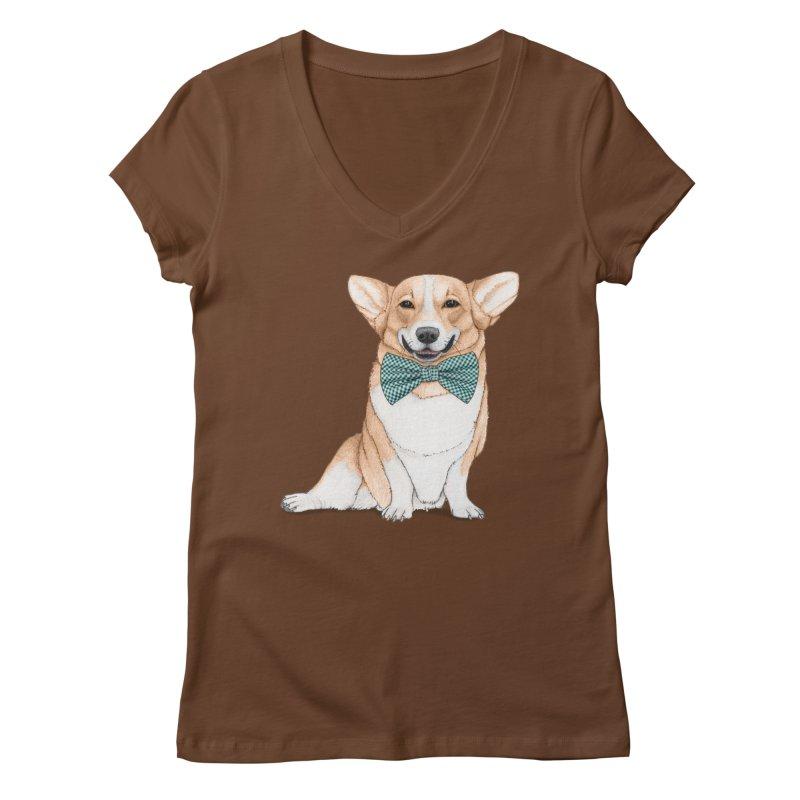 Corgi Dog Women's V-Neck by Barruf