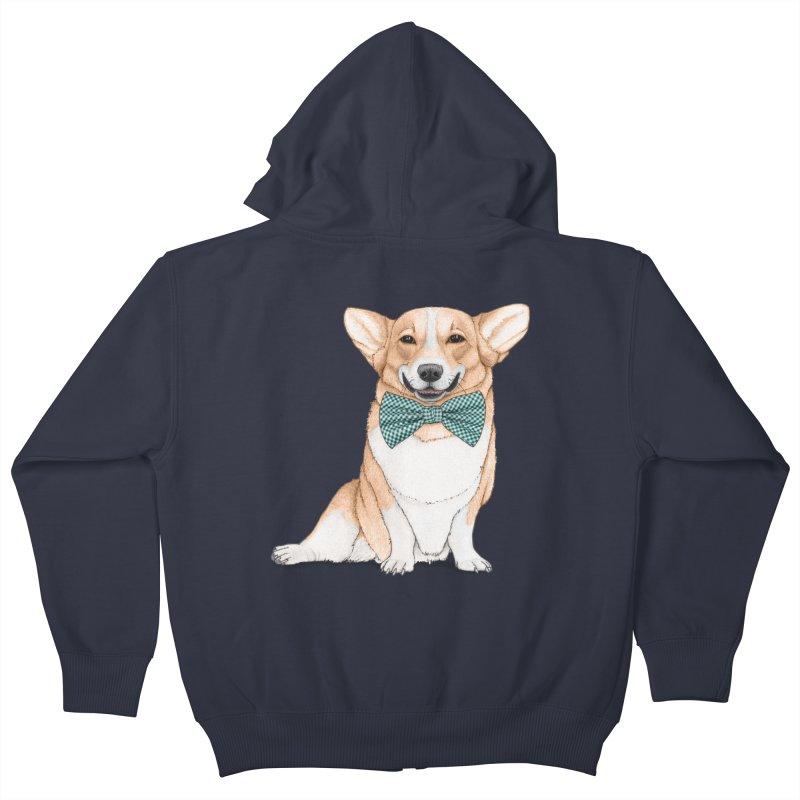 Corgi Dog Kids Zip-Up Hoody by Barruf