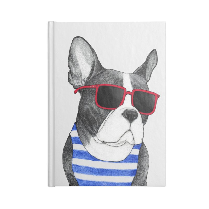 Frenchie Summer Style Accessories Lined Journal Notebook by Barruf
