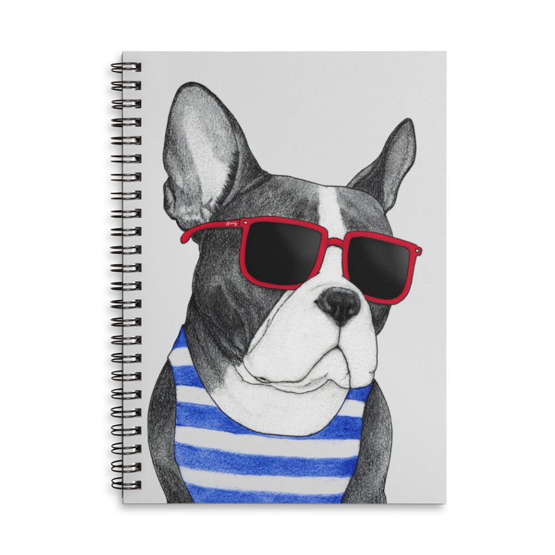 Frenchie Summer Style Accessories Lined Spiral Notebook by Barruf