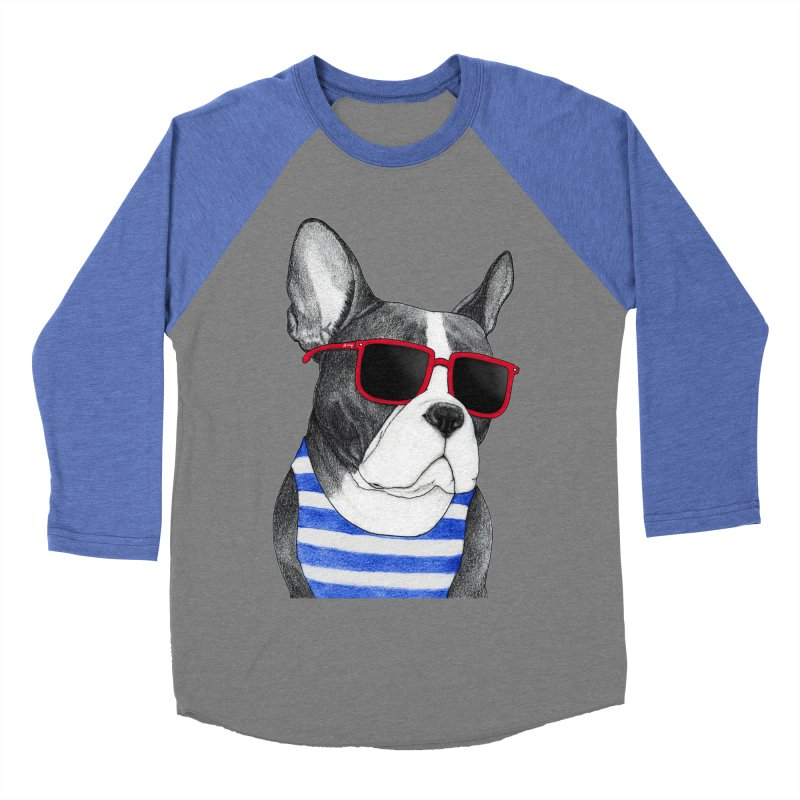 Frenchie Summer Style Women's Baseball Triblend Longsleeve T-Shirt by Barruf