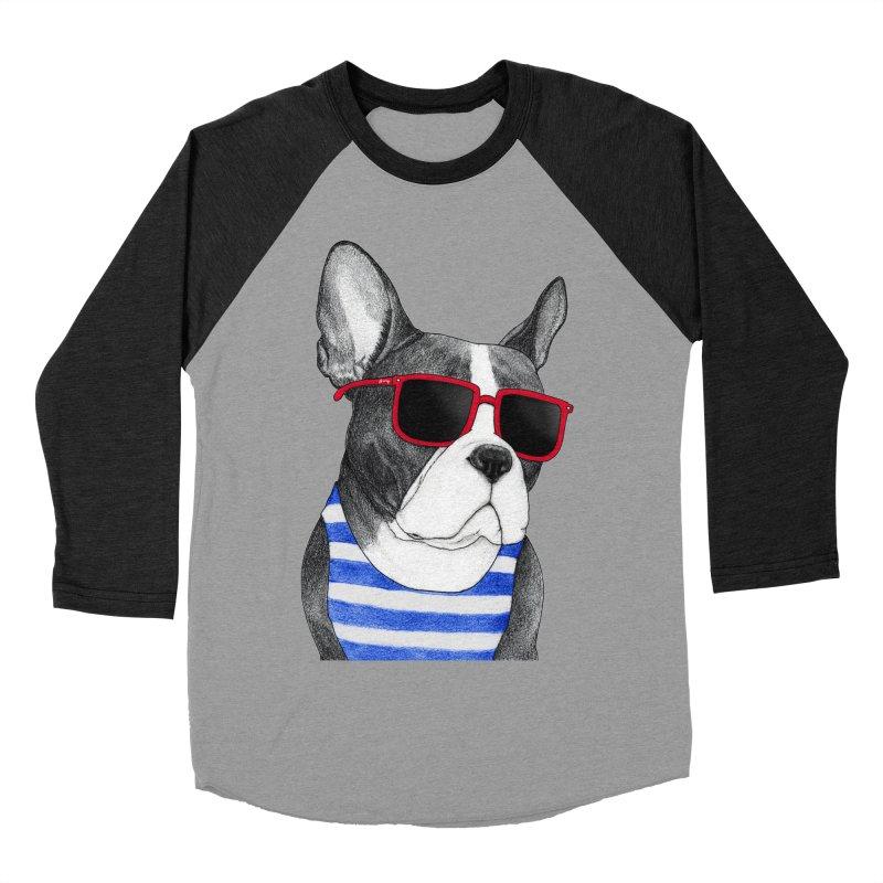 Frenchie Summer Style Women's Baseball Triblend Longsleeve T-Shirt by Barruf