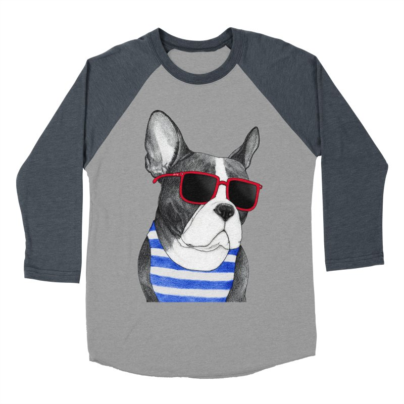 Frenchie Summer Style Men's Baseball Triblend Longsleeve T-Shirt by Barruf
