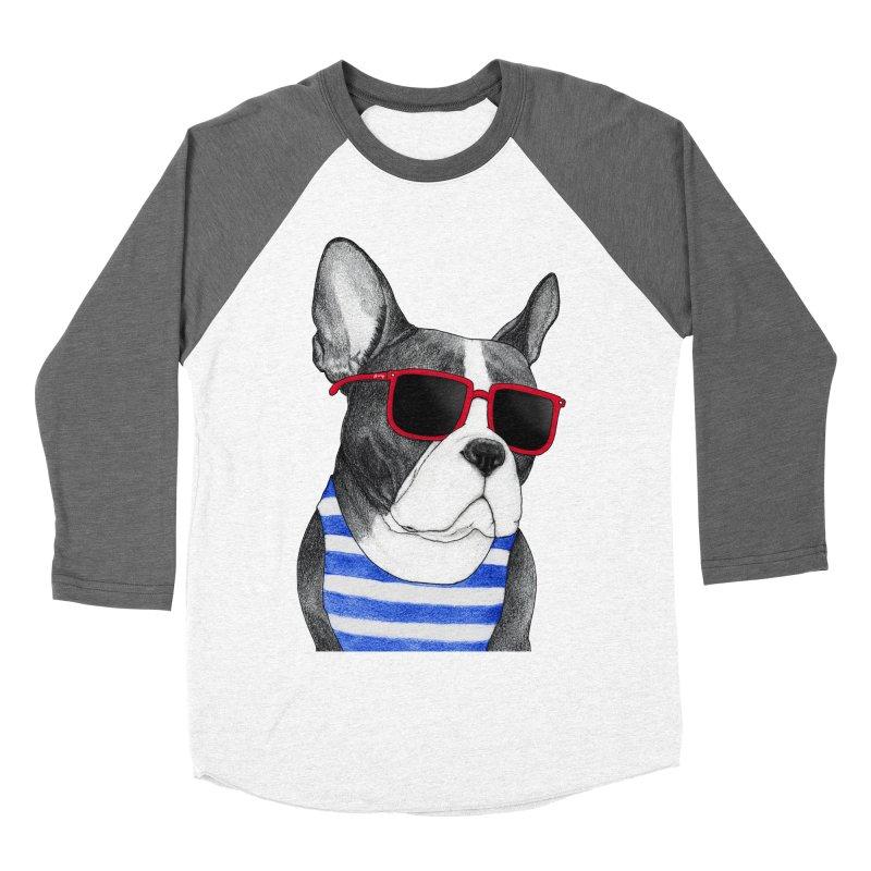 Frenchie Summer Style Men's Baseball Triblend Longsleeve T-Shirt by Barruf
