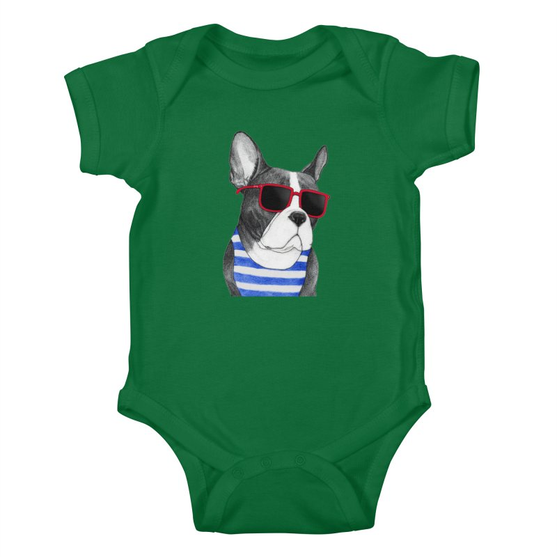 Frenchie Summer Style Kids Baby Bodysuit by Barruf