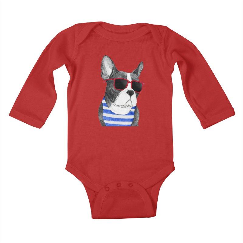 Frenchie Summer Style Kids Baby Longsleeve Bodysuit by Barruf