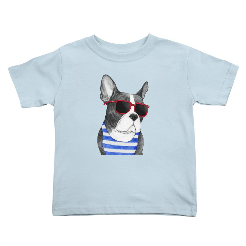 Frenchie Summer Style Kids Toddler T-Shirt by Barruf